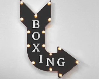 """On Sale! 24"""" BOXING Curved Metal Arrow Sign - Box Ring Knockout Knock Out Round - Plugin, Battery or Solar - Rustic Vintage Light Up Marquee"""