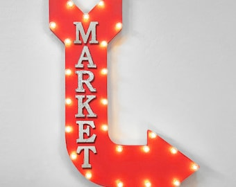 "On Sale! 36"" MARKET Metal Arrow Sign - Plugin or Battery Operated - Convenient Store Food Beverage - Rustic Marquee Light up"