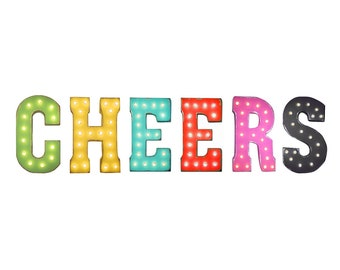 "On Sale! 21"" CHEERS Metal Sign - Cheer Squad Ching Celebrate Congrats Free Standing or Hang - Rustic Vintage Style Marquee Light Up Letters"