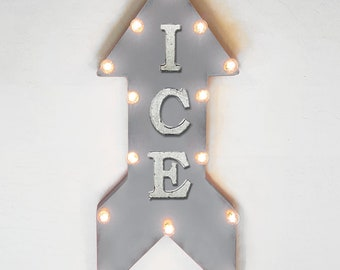 "On Sale! 24"" ICE Straight Arrow Sign - Snow Ski Skate Skating Drinks Cold Winter Freeze Freezing - Rustic Vintage Marquee Light Up"