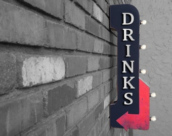 """On Sale! 30"""" DRINKS Metal Arrow Sign - Plugin or Battery Operated - Cafe Bakery Drink Alcohol Bar Pub - Double Sided Rustic Marquee Light Up"""