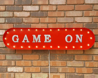 """On Sale! 39"""" GAME ON Metal Oval Sign - Exciting Wonderful Kids Toys Play Games Gaming Competition - Vintage Style Rustic Marquee Light Up"""