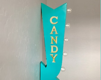 """On Sale! 25"""" CANDY Sweets Sweet Sugar Treats Plugin or Battery Operated Rustic led Double Sided Rustic Metal Arrow Marquee Light Up Sign"""