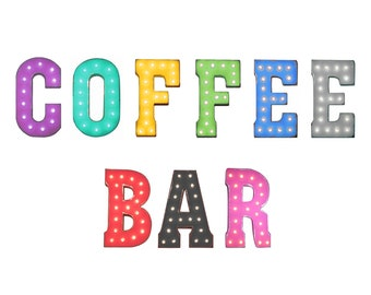 """On Sale! 21"""" COFFEE BAR Metal Sign - Plugin, Battery or Solar - Espresso Shop Cafe - Rustic Vintage Style Marquee Light Up Letters"""