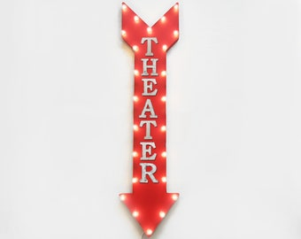 "On Sale! 48"" THEATER Metal Sign - Plugin or Battery Operated - Theatre Cinema Movie Movies - Vintage Rustic Marquee Arrow Light Up"