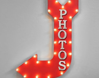 "On Sale! 36"" PHOTOS Metal Arrow Sign - Photo Booth Photography Smile - Double Sided Hang or Suspend - Rustic Marquee Light Up"