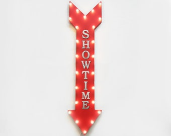 "On Sale! 48"" SHOWTIME Metal Sign - Plugin or Battery Operated - Show Time Movie Premier Movies - Vintage Rustic Marquee Arrow Light Up"