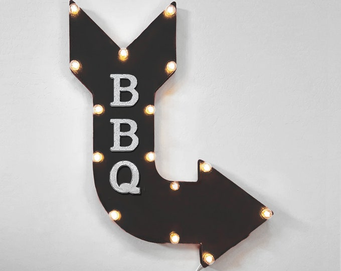 "Featured listing image: On Sale! 24"" BBQ Curved Metal Arrow Sign - Food Eat Steakhouse Barbecue Meat - Rustic Vintage Marquee Light Up"