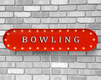 """On Sale! 39"""" BOWLING Metal Oval Sign - Ball Pin Alley Bowl Lanes Lucky Strike Spare Turkey - Vintage Style Rustic Marquee Light Up"""
