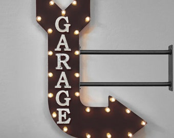 "On Sale! 36"" GARAGE Metal Arrow Sign - Mechanic Mechanics Work Shop Trucks Tools - Double Sided Hang or Suspend - Rustic Marquee Light Up"