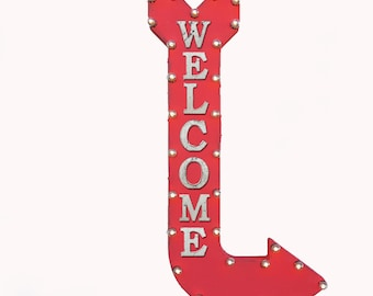 "On Sale! 48"" WELCOME Metal Arrow Sign - Come In Enter Here Open This Way Doorway - Double Sided Hang or Suspend - Rustic Marquee Light Up"