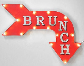 "On Sale! 24"" BRUNCH Curved Metal Arrow Sign - Eat Food Breakfast Lunch Meal - Rustic Vintage Marquee Light Up"