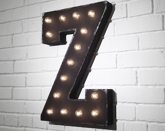 """ON SALE! 21"""" Metal Letter Z - Plugin, Battery Operated or Solar Powered - Rustic Nostalgic Vintage Style - Light Up Marquee Letter Sign."""