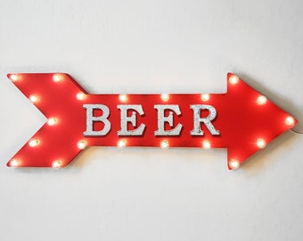 "On Sale! 36"" BEER Metal Arrow Sign - Plugin or Battery Operated Led - Alcohol Bar Garden Spirits Shots Liquor - Rustic Marquee Light Up"