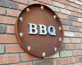 "On Sale! 20"" BBQ Round Metal Sign - Plugin or Battery Operated -Barbecue Ribs Grill Grilling - Rustic Vintage Marquee Light Up"