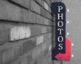 """On Sale! 30"""" PHOTOS Metal Arrow Sign - Plugin or Battery Operated - Photo Booth Pictures Picture - Double Sided Rustic Marquee Light Up"""