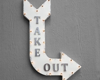 """On Sale! 36"""" TAKE OUT Metal Arrow Sign - Plugin, Battery or Solar - Pick Up Food Here To Go TakeOut Online Orders - Rustic Marquee Light Up"""