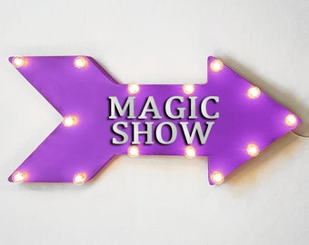"On Sale! 24"" MAGIC SHOW Straight Metal Arrow Sign - Magicshow Performance Hat Cape Wand Event - Rustic Vintage Marquee Light Up"