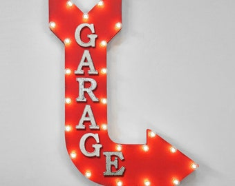 "ON SALE! 36"" GARAGE Work Shop Tools Cars Trucks Plug-In or Battery Operated led Open Light Up Large Rustic Metal Marquee Sign Arrow 14 Color"