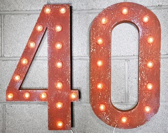 ON SALE! 40 40th Birthday Party Prop Over The Hill. Free Standing or Hang Rustic Metal Vintage Style Marquee Sign Light Up Letters 24 Colors