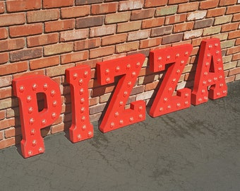 ON SALE! PIZZA Pizzeria Pasta Italian Restaurant Free Standing or Hang. Rustic Metal Vintage Style Marquee Sign Light Up Letters. 24 Colors.