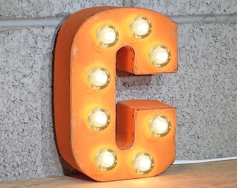"On Sale! 7"" Letter C - Metal Sign - Plugin - Small Rustic Marquee LED Alphabet Light Up"
