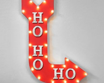 "ON SALE! 36"" HOHOHO Cheers Christmas Holiday Jolly Santa Plug-In or Battery Operated led Open Light Up Large Rustic Metal Marquee Sign Arrow"