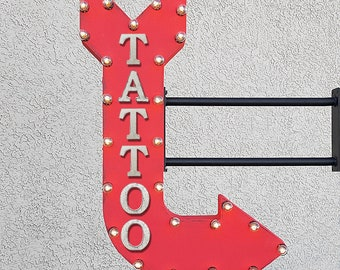 "On Sale! 36"" TATTOO Metal Arrow Sign - Artist Ink Portrait Tatted Art Parlor Shop - Double Sided Hang or Suspend - Rustic Marquee Light Up"