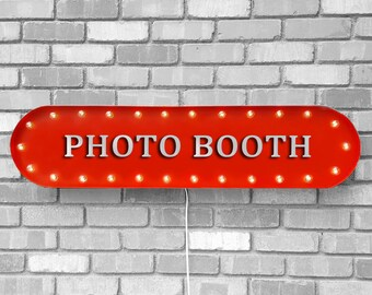 """On Sale! 39"""" PHOTOS Metal Oval Sign - Photo Booth Photography Pics Snap Say Cheese Flash - Vintage Style Rustic Marquee Light Up"""