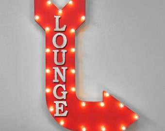 """On Sale! 36"""" LOUNGE Metal Arrow Sign - Office Hotel Motel Waiting Area Sitting - Double Sided Hang or Suspend - Rustic Marquee Light Up"""