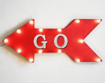 "On Sale! 24"" GO Straight Arrow Sign - Finish Line Beginning Begin Done Race Start - Rustic Vintage Marquee Light Up"