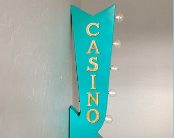 """On Sale! 25"""" CASINO Blackjack Play Cards Games Plugin or Battery Operated Rustic led Double Sided Rustic Metal Arrow Marquee Light Up Sign"""