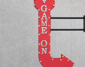 """On Sale! 48"""" GAME ON Metal Arrow Sign - Play Games Arcade Pool Hall Cue Eight Stick - Double Sided Hang or Suspend - Rustic Marquee Light Up"""