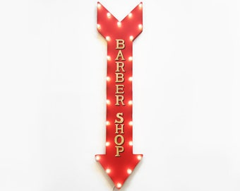 "On Sale! 48"" BARBER SHOP BarberShop Parlor Haircut Haircuts Hair Plugin or Battery Operated led Rustic Metal Light Up Arrow Marquee Sign"