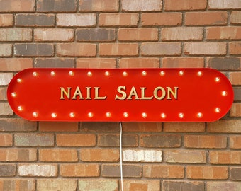 """On Sale! 39"""" NAIL SALON Nails Beauty Spa Pedicure Massage Vintage Style Rustic Metal Marquee Light Up Sign"""