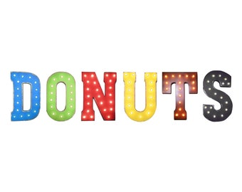 """On Sale! 21"""" DONUTS Metal Sign - Plugin, Battery or Solar - Fresh Doughnut Pastry Donut - Rustic Vintage Style Marquee Light Up Letters"""