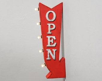 "ON SALE! 25"" OPEN Come In Enter Welcome Diner Plug-In or Battery Operated Rustic led Double Sided Rustic Metal Arrow Marquee Light Up Sign"
