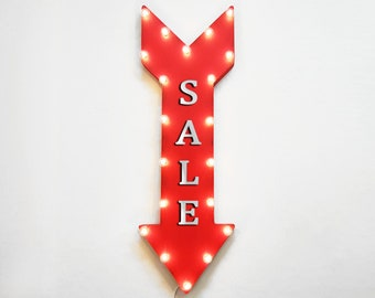 """On Sale! 36"""" SALE Metal Arrow Sign - Plugin, Battery or Solar - Discount Price On Store Clearance Markdown - Rustic Marquee Light Up Sign"""