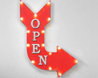 "On Sale! 24"" OPEN Curved Metal Arrow Sign - Now Available Come In Store Shop Welcome Closed Exit Entrance - Rustic Vintage Marquee Light Up"