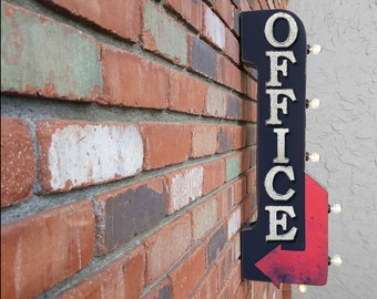 """On Sale! 30"""" OFFICE Metal Arrow Sign - Plugin or Battery Operated - Waiting Room Work Space Desk - Double Sided Rustic Marquee Light Up"""