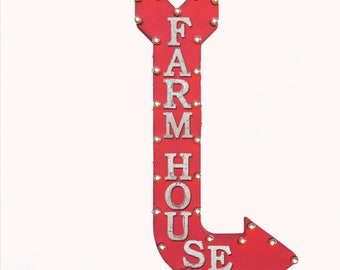 "On Sale! 48"" FARM HOUSE Metal Arrow Sign - Farmhouse Ranch Barn Yard - Vintage Rustic Curved Marquee Light Up"