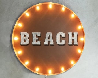 "On Sale! 30"" BEACH Round Metal Sign - Plugin or Battery Operated - House Heart Live Ocean Swim Welcome - Rustic Vintage Marquee Light Up"