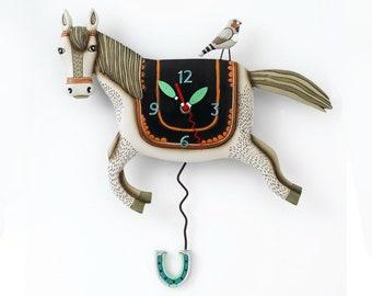 Woah Horsey - Western with Bird and Horseshoe - Whimsical Colorful - Animated Pendulum Wall Clock