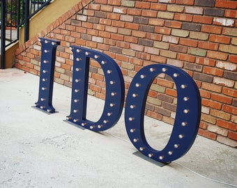 ON SALE! I DO Rustic Metal Marquee Vintage Style Light Up Sign. Wedding Reception Decor Letters, Bride, Bridal Shower, Party, Love.