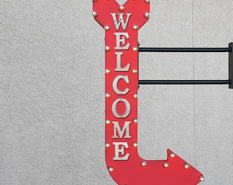 """On Sale! 48"""" WELCOME Metal Arrow Sign - Come In Enter Here Open This Way Doorway - Double Sided Hang or Suspend - Rustic Marquee Light Up"""
