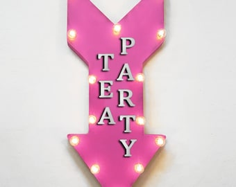 "On Sale! 24"" TEA PARTY Straight Metal Arrow Sign - High Teas Girls Finger Foods Afternoon - Rustic Vintage Marquee Light Up"