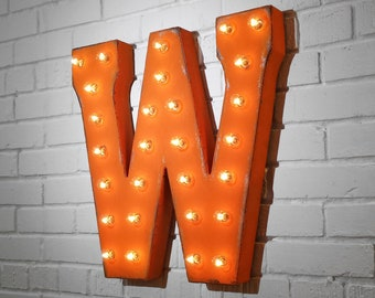 """ON SALE! 21"""" Metal Letter W - Plugin, Battery Operated or Solar Powered - Rustic Nostalgic Vintage Style - Light Up Marquee Letter Sign."""
