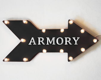 "On Sale! 24"" ARMORY Straight Metal Arrow Sign - Shoot Bows Arrows Target Practice Range Guns Stockades - Rustic Vintage Marquee Light Up"