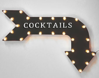 "On Sale! 36"" COCKTAILS Metal Arrow Sign - Plugin or Battery Operated - Drinks Bar Drink Pub Tavern - Rustic Marquee Light up"