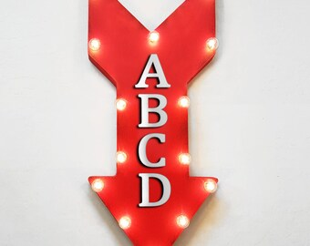 """On Sale! 24"""" WIN Straight Arrow Sign - Winner Lucky 777 Gamble Casino Arcade - Rustic Vintage Marquee Light Up"""
